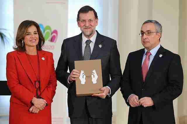Ana Botella, Mariano Rajoy t Alejandro Blanco, en la presentación de la candidatura olímpica Madrid 2020. Foto de La Moncloa - Gobierno de España.