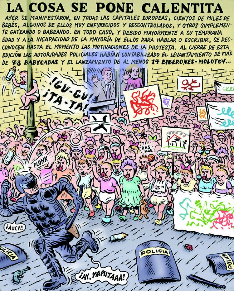 Biberones molotov. Ilustración de Miguel Brieva