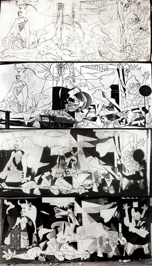 Fases de creación del Guernica de Pablo Picasso. Fotos de
