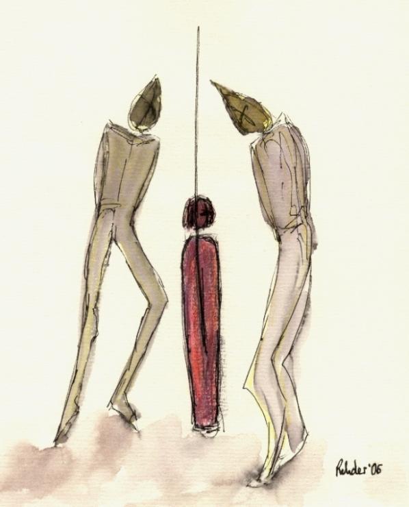 Alfiles contra peón, ilustración de Elke Rehder